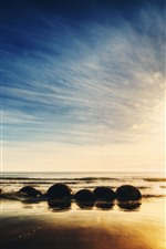 Preview iPhone wallpaper New Zealand, sea, stones, sunrise, sky, glare