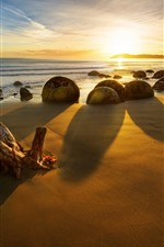 Preview iPhone wallpaper New Zealand, sea, stones, sunset, rocks, beach