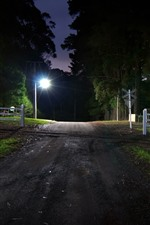 Night, road, crossroad, railway, lights, trees, fence