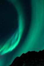 Preview iPhone wallpaper Northern lights, starry, stars, night, mountain