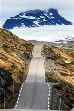 Preview iPhone wallpaper Norway, road, snow, mountains, winter