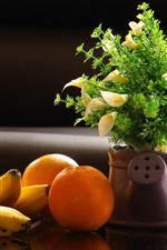 Preview iPhone wallpaper Oranges, banana, flowers, vase
