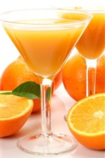 Preview iPhone wallpaper Oranges, glass cups, juice, drinks