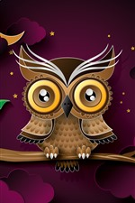 Preview iPhone wallpaper Owl, tree branch, leaves, clouds, night, moon, art picture