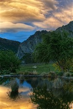 Preview iPhone wallpaper Pond, mountains, animal, clouds, dusk