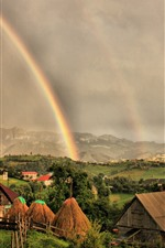 Preview iPhone wallpaper Rainbow, village, mountains, trees, clouds