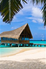 Preview iPhone wallpaper Resort, beach, palm trees, sea, hut, pier