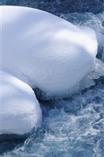 Preview iPhone wallpaper Snow, water, ice, foam, winter