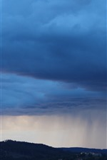Preview iPhone wallpaper Thick clouds, town, storm