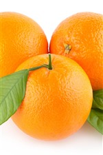 Preview iPhone wallpaper Three oranges, white background
