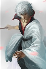 Preview iPhone wallpaper White hair anime boy, katana