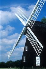 Windmill, fields, blue sky, clouds