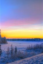 Winter, snow, road, sunset, trees
