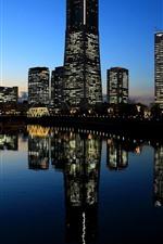 iPhone обои Иокогама, Япония, город, ночь, огни, река, небоскребы