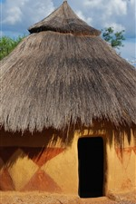 Preview iPhone wallpaper Africa, hut, trees, hot