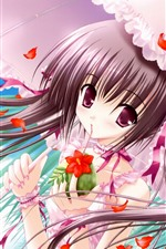 Anime girl, umbrella, red flowers