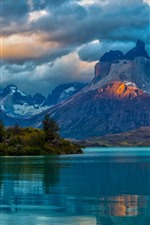 Preview iPhone wallpaper Argentina, Patagonia, lake, mountains, clouds, water reflection