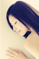 Preview iPhone wallpaper Asian girl, long hair, sleep