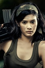 Preview iPhone wallpaper Asian girl, rifle, gun