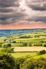 Preview iPhone wallpaper Beautiful countryside, fields, trees, village, clouds