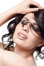 Vorschau des iPhone Hintergrundbilder Schwarzes Haarmädchen, Mode, Pose, weißer Hintergrund