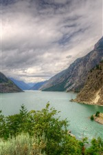 Canada, mountain, lake, trees, clouds, nature landscape