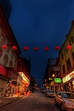 Preview iPhone wallpaper Chinatown, road, cars, store, lights, city, night, USA