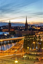 Preview iPhone wallpaper City night view, river, bridge, roads, lights, Stockholm, Sweden