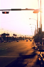 Preview iPhone wallpaper City, road, cars, lights, sunset, glare