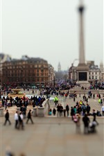 Preview iPhone wallpaper City, square, people, hazy