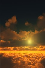Preview iPhone wallpaper Clouds, sunset, moon, sky