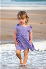 Preview iPhone wallpaper Cute little girl, beach, sea