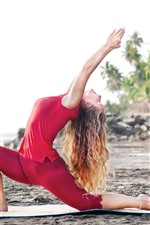 Preview iPhone wallpaper Dancing girl, yoga, beach, pose