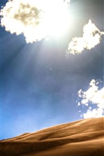 Preview iPhone wallpaper Desert, clouds, sunshine, hot