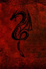 Preview iPhone wallpaper Dragon, red background, creative