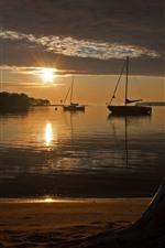 Dusk, sunset, beach, sea, boats