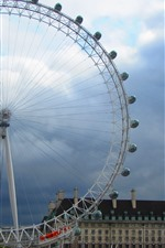 Preview iPhone wallpaper Ferris wheel, London, city, clouds