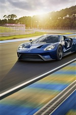 Preview iPhone wallpaper Ford blue sport car, speed, road