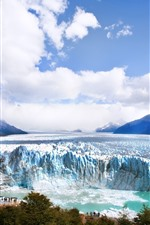 Glacier, iceberg, mountains, clouds