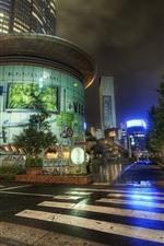 iPhone обои Япония, город, ночь, дорога, улица, после дождя, огни