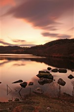 Preview iPhone wallpaper Lake, stones, dusk, sunset, water reflection