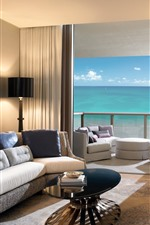 Preview iPhone wallpaper Living room, sofa, TV, sea, door