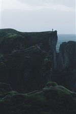 Preview iPhone wallpaper Mountain, cliff, height, person