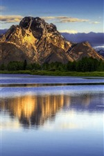 Preview iPhone wallpaper Mountains, lake, clouds, dusk, nature