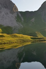 Preview iPhone wallpaper Mountains, slope, grass, lake, water droplets