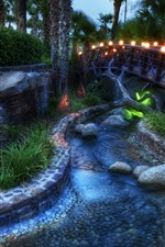 Preview iPhone wallpaper Night, park, bridge, river, lamps, trees