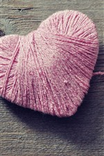 Preview iPhone wallpaper Pink thread love heart