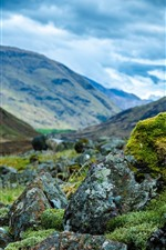 Preview iPhone wallpaper Rocks, moss, green, mountains, clouds, hazy