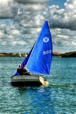 Preview iPhone wallpaper Sailboat, sea, clouds, HDR style