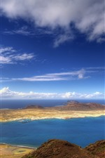 Preview iPhone wallpaper Sea, island, clouds, nature scenery